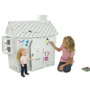 White Dollhouse with girl and doll
