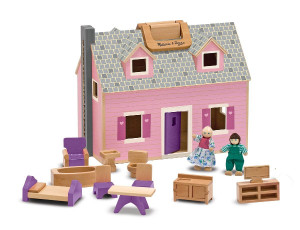 Melissa & Doug Fold and Go Dollhouse With 2 Dolls and Wooden Furniture