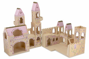 Melissa & Doug Folding Princess Castle Wooden Dollhouse with Drawbridge and Turrets