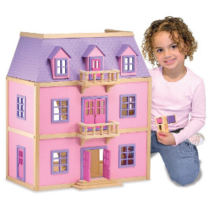Melissa & Doug Multi-Level Wooden Dollhouse With 19 pcs Furniture