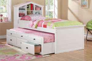 Doll house style headboard white finish